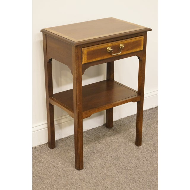 """Sherrill Furniture 20th Century Traditional Sherrill Furniture Banded Mahogany 18"""" Nightstand For Sale - Image 4 of 13"""