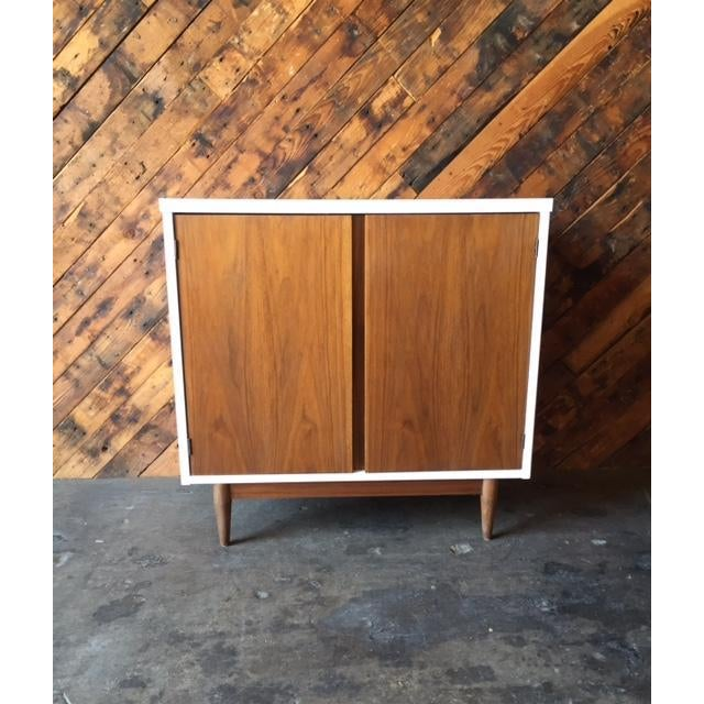 Mid Century Refinished Walnut Lacquered Bar Record Cabinet - Image 2 of 6