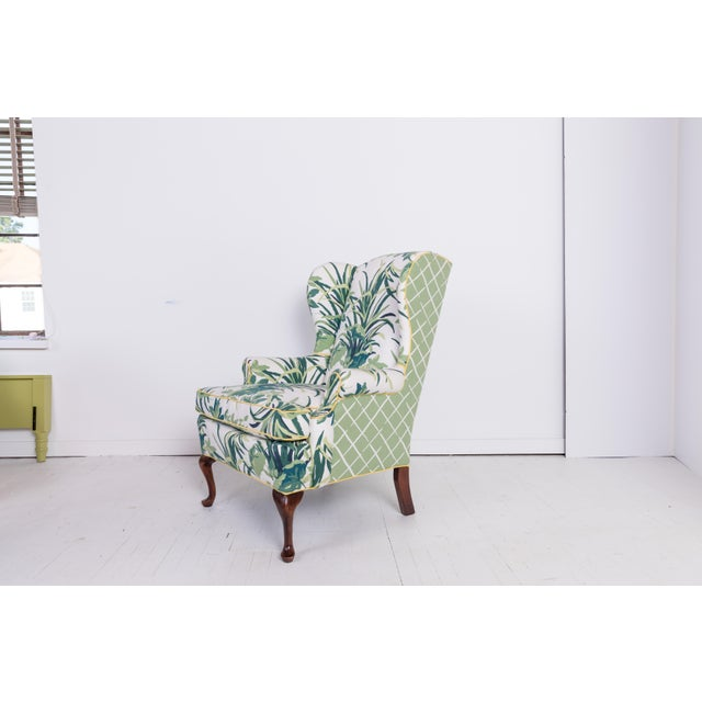 Pleasing 1960S Vintage Palm Leaf Pattern Fabric Wingback Chair Machost Co Dining Chair Design Ideas Machostcouk