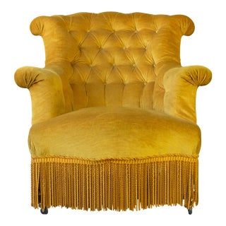 Pair of French 19th Century Gold Velvet Armchairs For Sale