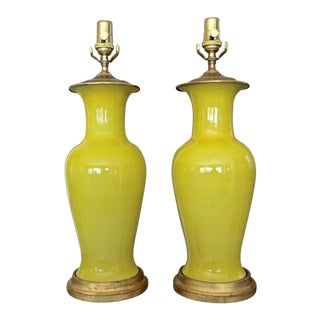 1960s Chinese Asian Yellow Porcelain Table Lamps - a Pair For Sale