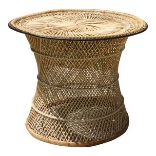 Mid-Century Woven Round Rattan Coffee Table / Side Table For Sale