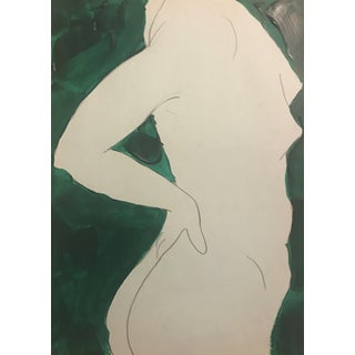1970s Figurative Drawing of Posing Female Nude by James Bone For Sale