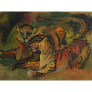 Colorful Tigers Mid-Late 20th Century Oil Painting For Sale