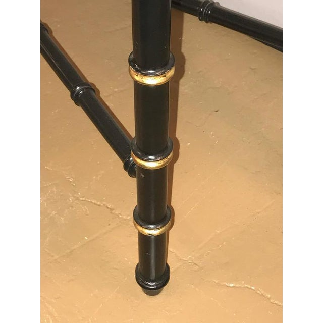 Ebonized Faux Bamboo and Gilt Gold Console or Serving Table Manner of Jansen For Sale - Image 9 of 10