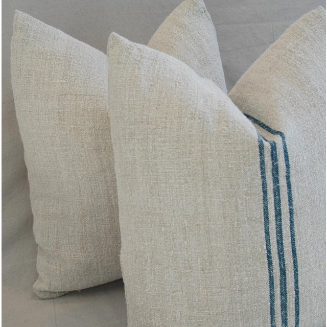 Blue Stripe French Grain Sack Pillows - Pair - Image 8 of 11