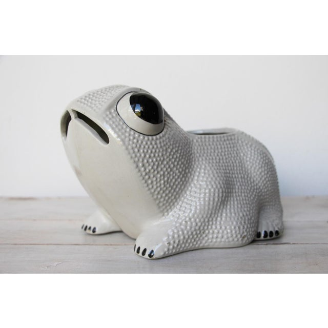 Vintage Portuguese hobnail frog planter in the style of Jean Roger, marked. Circa: 1970. Origin: Portugal. Material:...