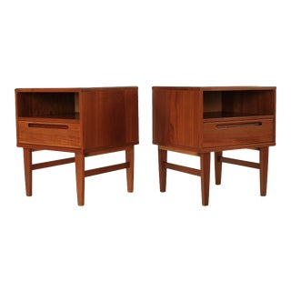 1960's Mid Century Danish Teak Nightstands by Nils Jonsson - a Pair For Sale