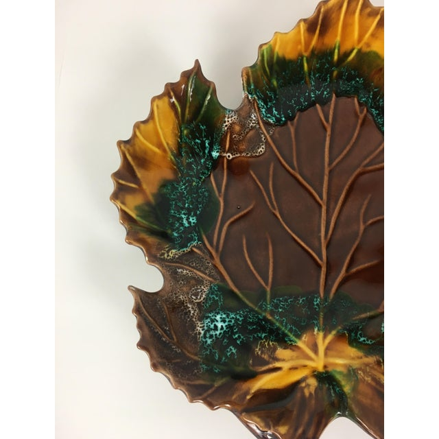 Mid Century 1960's Vintage Vallauris Leaf Shaped Serving Dish For Sale - Image 4 of 6