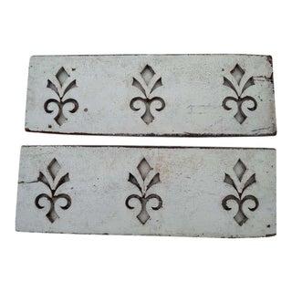 Antique Architectural Fleur de Lis Carved Panels - A Pair