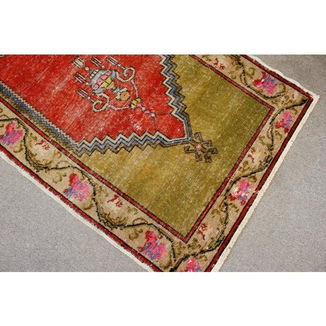 """Vintage Turkish Oushak Handmade Antique Prayer Rug - 37"""" x 52"""" For Sale - Image 4 of 6"""