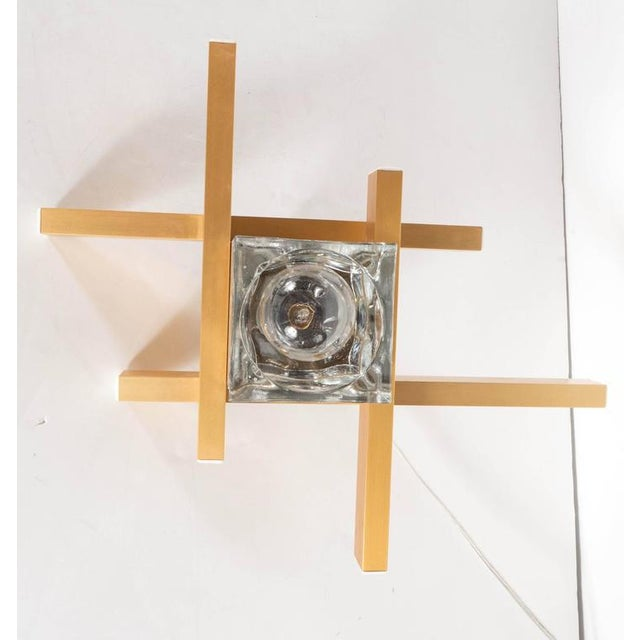 Mid-Century Modernist Flush Mount Brass and Cubed Glass Fixture by Sciolari For Sale In New York - Image 6 of 9