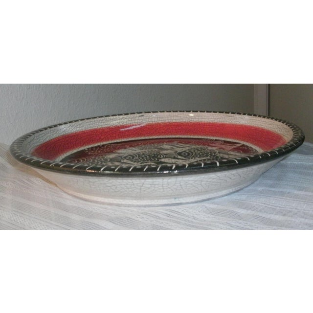 Large Deep Crackle Ceramic Swimming Fish Platter Hand Signed & Numbered For Sale - Image 4 of 11