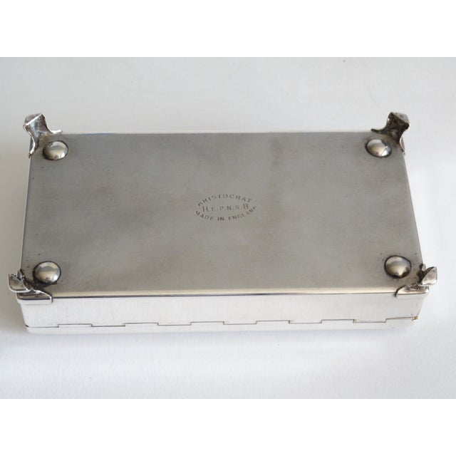 1960s Art Deco English Silver Plate Table Box For Sale - Image 5 of 9