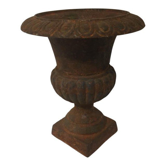 Rusty Cast Iron Urn Planter - Image 1 of 6