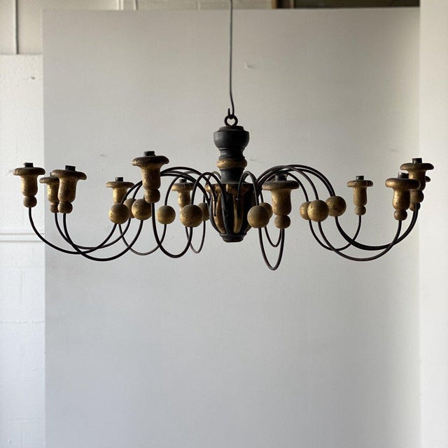 Black Mid-19th Century Parcel-Gilt Wood and Metal Chandeliers - A Pair For Sale - Image 8 of 9