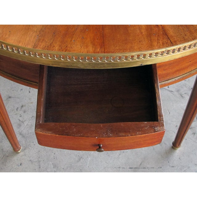 Louis XVI A Tailored French Louis XVI Style Mahogany 2-Drawer Bouillotte/Center Table With Inset Marble Top For Sale - Image 3 of 5