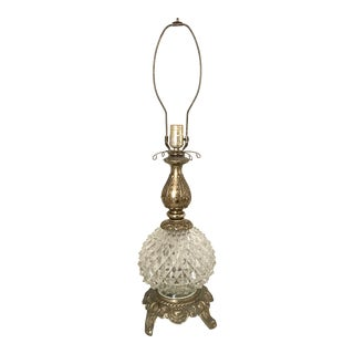 1960s Antique Crystal and Brass Baroque Lamp For Sale