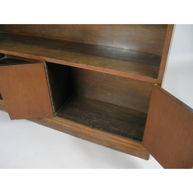 Wood Pair of 1940s Walnut Skyscraper Bookcases For Sale - Image 7 of 9