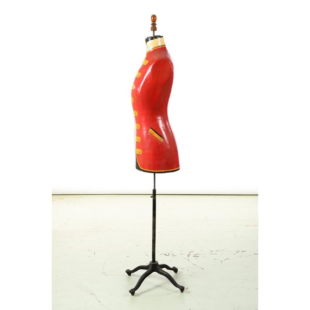 19th century Antique Mannequin Painted Torso Form w/Cast Iron stand For Sale In Los Angeles - Image 6 of 9