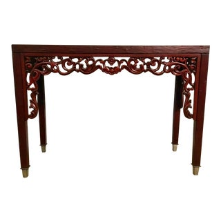 Asian Style Red Carved Console Table For Sale