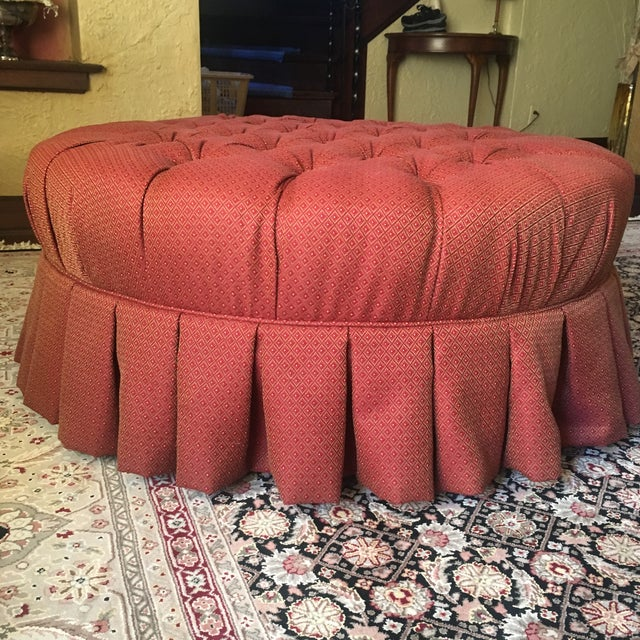 "Traditional Ethan Allen 37"" Round Red Tufted Cocktail Ottoman For Sale - Image 3 of 13"