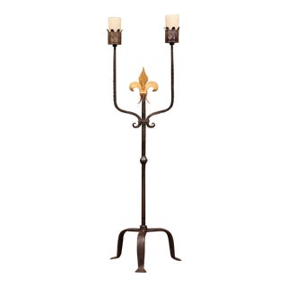 19th Century French Gothic Forged Iron Two-Light Candle Lamp With Fleur-De-Lys For Sale