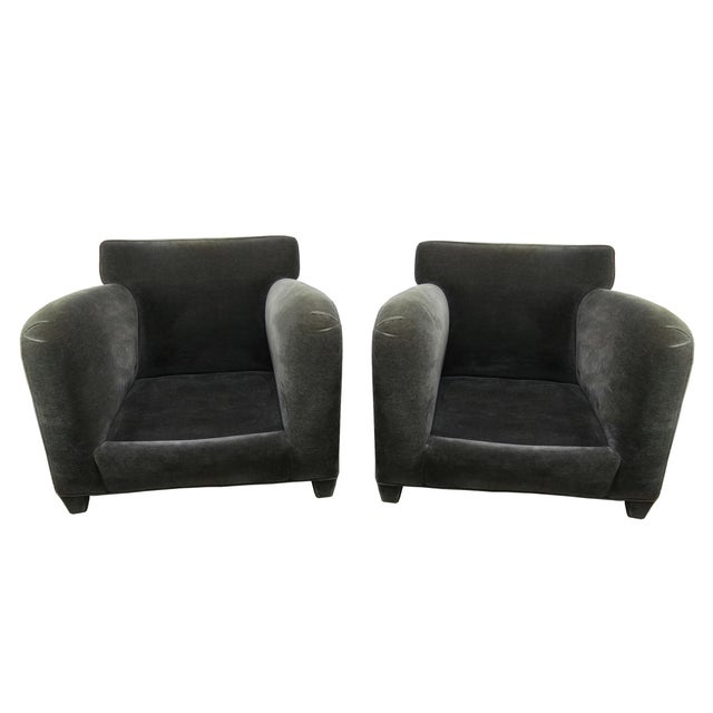 1980s Donghia Art Deco Style Gray Mohair & Down Club / Lounge Chairs - a Pair For Sale - Image 11 of 13