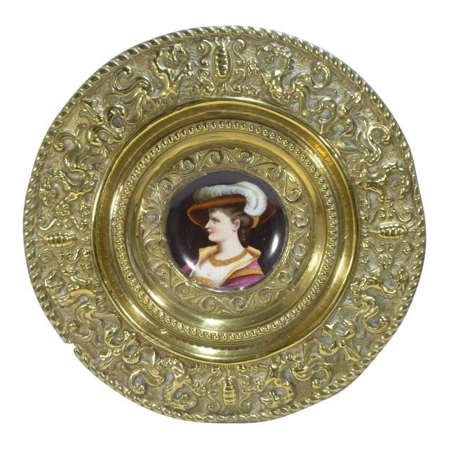 Antique Brass Repousse Charger W Handpainted Porcelain Portrait Woman W Hat For Sale