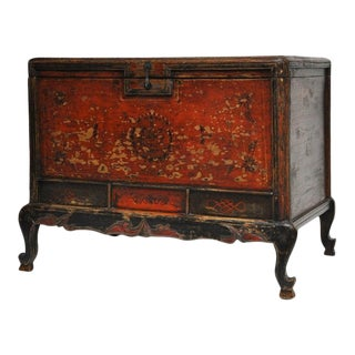 Antique Chinese Northwestern Frontier Painted Cedar Trunk For Sale
