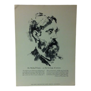 """1962 """"Sir Michael Foster - on the Heritage of Science"""" The Rand Corporation Famous People in History Print For Sale"""