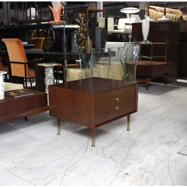Very nice Mid-Century Modern end side table with two drawers and solid brass pulls.