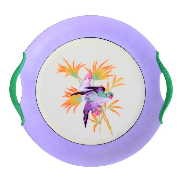 Antique Lilac Moschendorf Bavaria Cake Plate With Parrots For Sale