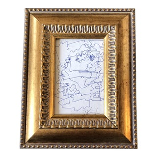 Original Vintage Wayne Cunningham Small Abstract Ink Drawing Framed For Sale