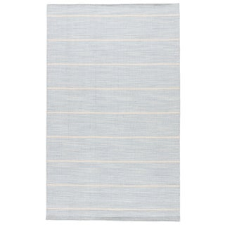 Jaipur Living Cape Cod Handmade Stripe Blue & White Area Rug - 9' X 12' For Sale
