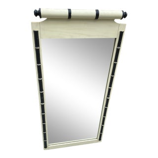 1970s White Bamboo Accent Mirror For Sale