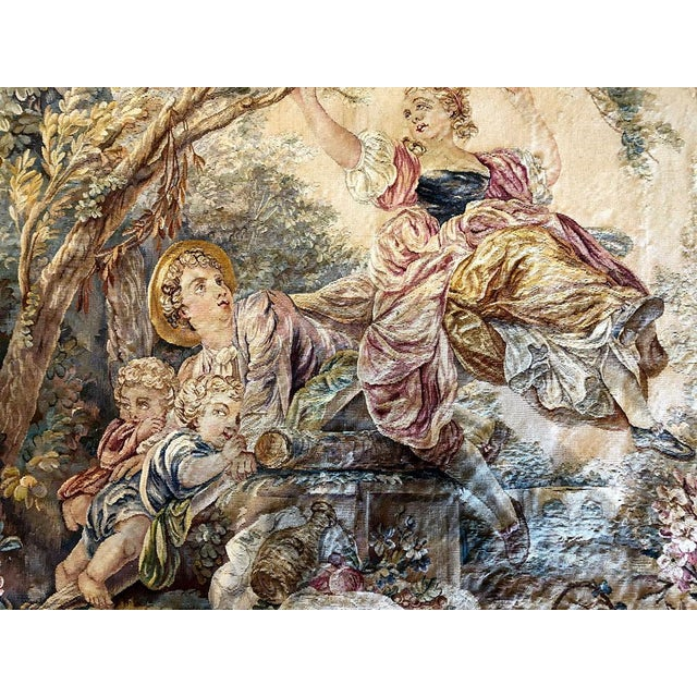 "19th Century Antique French Tapestry ""Romantic Pattern"" For Sale In Los Angeles - Image 6 of 7"