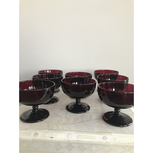 1940s Ruby Red Glass Sherbet Ice Cream Dish - Set of 8 For Sale - Image 4 of 11