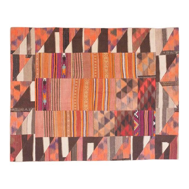 "Turkish Kilim Wool Rug - 6'8"" x 8'6"" For Sale"