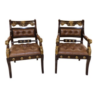 Theodore Alexander Tufted Leather Library Armchairs - a Pair