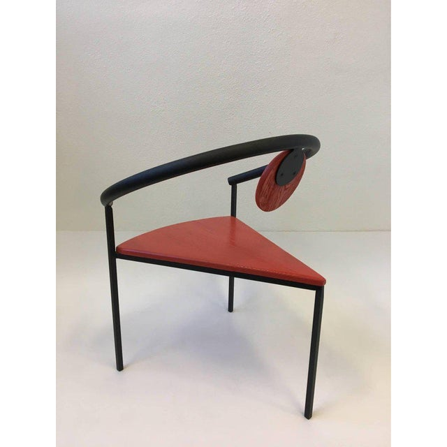 Modern Set of Four Tripod Memphis Dining Chairs in the Manner of Michele de Lucchi For Sale - Image 3 of 11