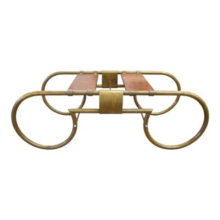 1970s Vintage Brass & Burlwood Coffee Table Base For Sale
