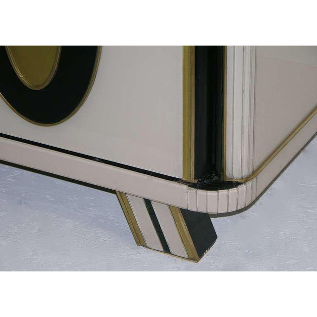 1970s Italian Art Deco Gold Black and White Cabinets or Sideboards - a Pair For Sale - Image 4 of 11
