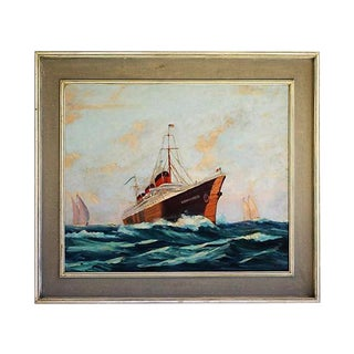 French Oil Painting S S Normandie Oceanliner For Sale