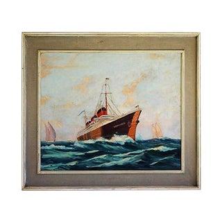 SS Normandie Oil Painting