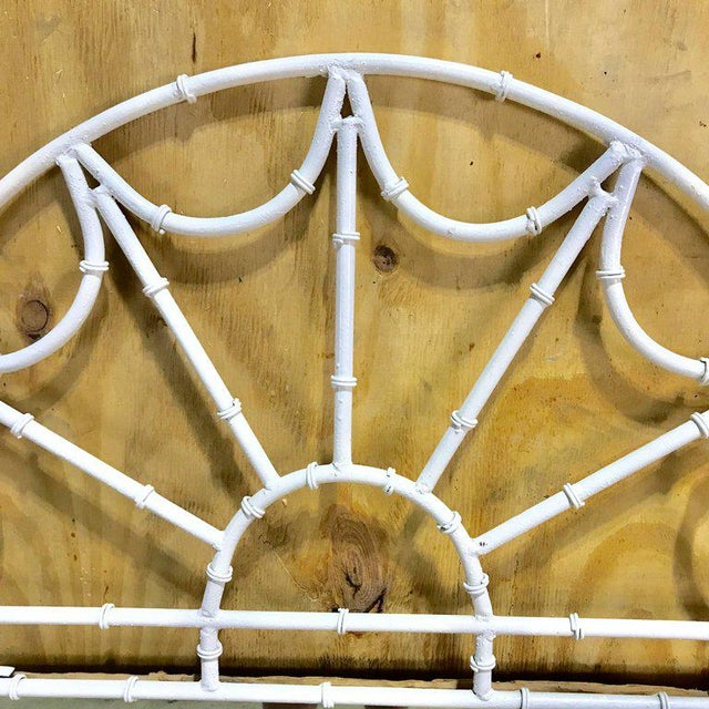 Metal Midcentury Faux Bamboo Iron Mirror in White For Sale - Image 7 of 8