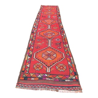 Hand Made VIntage Tribal Turkish Runner- 2′11″ × 11′3″ For Sale