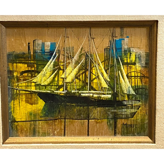 Vintage Oil on Canvas Signed Moss Nautical Sailboats Framed Typical condition for age. No damages or repairs. Canvas is...