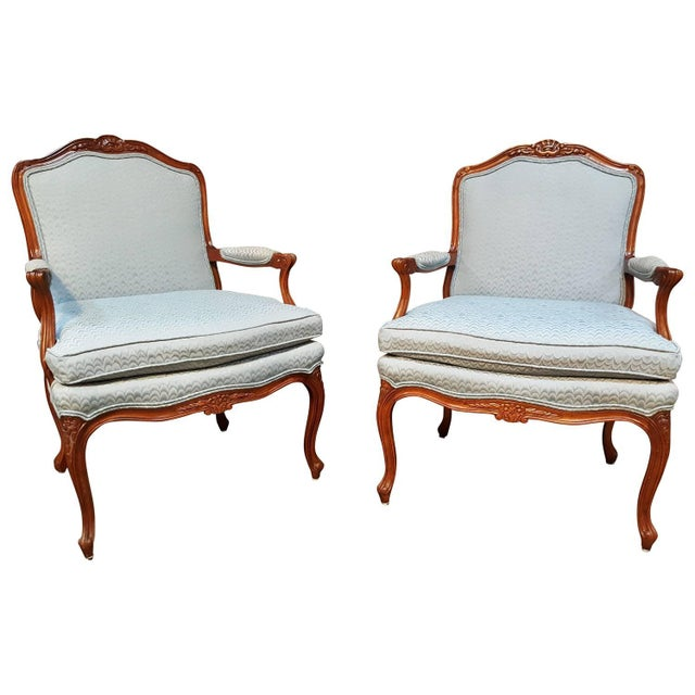 Louis XV Style Bergere Lounge Chairs - Pair - Image 1 of 6