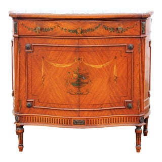 Adams Style Decorated Serpentine Front Marble Top Console